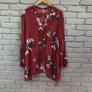 Free People Rusty Choker Neck Fall Floral Tunic S